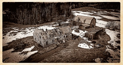 Old Farm House - April 2018 (Steve Muise) Tags: berrymills newbrunswick canada ca sepia aerial dji phantom barn farm abandoned winter
