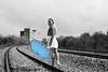 Sunce (Sareni) Tags: sareni serbia srbija sunce alibunar banat juznibanat pruga rails drvece sine lines woman selectivecolor bw blackandwhite blue kisobran prolece spring april2018 twop