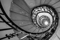 Spiralling (McQuaide Photography) Tags: budapest hungary magyarország europe sony a7riii ilce7rm3 alpha mirrorless 1635mm sonyzeiss zeiss variotessar fullframe mcquaidephotography adobe photoshop lightroom handheld inside indoor interior building city capitalcity angle wideangle pov structure architecture spiralstaircase spiral staircase ststephensbasilica szentistvánbazilika basilica old historic history religiousbuilding blackandwhite bw mono monochrome blackwhite perspective lookingup depth