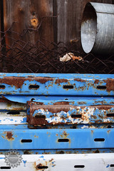 Brown in blue (lophophora_art) Tags: brown blue colors natural mess clutter composition rust wooden