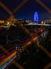 De nit tot fa llum (Ramon InMar) Tags: nit noche night train tren light trail bridge pont llum agbar barcelona city railroad vies