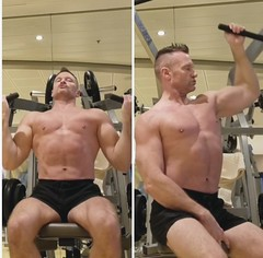 lat pulldowns reverse grip (ddman_70) Tags: shirtless pecs workout abs gym shortshorts latpulldowns
