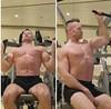 lat pulldowns reverse grip (ddman_70) Tags: shirtless pecs workout abs gym shortshorts latpulldowns