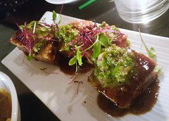 slow roasted pork belly, jalapeno sauce, kaffir lime dust (n.a.) Tags: oh one hundred hoxton pork belly jalapeno kaffir lime food plate london