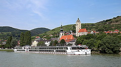 Krems (yorkiemimi (away for a while)) Tags: krems austria österreich landschaft scenery sky blue church kirche schiff riverboat