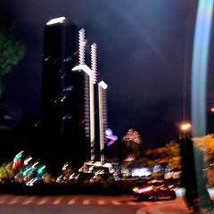 Blurry Building (earthdog) Tags: 2018 building googlepixel pixel city night andoridapp moblog cameraphone skyscraper lowlight sky road travel businesstravel work