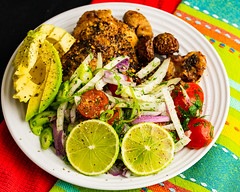 Wednesday dinner. Roast chicken thigh and fennel salad. (garydlum) Tags: chicken belconnen lime avocado limejuice redonion oliveoil chickenthigh springonion dill parsley tomatoes canberra fennel limezest australiancapitalterritory australia au