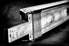 Tool from the past - HMM! (Mr Winegettr) Tags: macromonday backintheday tool sliderule mathematic monochrome vintage old