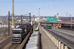 Concrete Jungle (sully7302) Tags: norfolk southern ns cp hack lift bridge trestle prr pennsylvania railroad route 7 meadowlands new jersey kearny emd sd80mac conrail shared assets train transport highway industrial