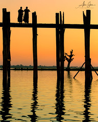 Reflections of the U Bein Bridge (Amarapura, Myanmar 2013) (Alex Stoen) Tags: 1dx 500px alexstoen alexstoenphotography burma canon canoneos1dx ef70200mmf28lisusm flickr geotagged google mandalay mandaly myanmar natgeo nationalgeographicexpeditions reflections silhouettes sunset travel ubeinbridge vacation facebook smugmug teakwood