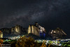 NIGHT OVER METEORA (Michael Leshets) Tags: night nightscape milky way mountains rocks city landscape stars lights meteora greece