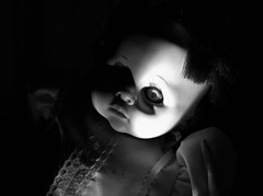 The Stare (Twila1313) Tags: doll eye stare look eyes creepy scary eerie ominous creepydoll haunted possessed monochrome blackandwhite panasonicgf1 panasonic20mm17