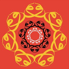 Lotus flower on vermillion (them_cairo_doors) Tags: doublewaaw arabic arabicscript hindu muslim syncretism sriyantra lotusflower tilaka vermillion safron sufi sufism waw waaw