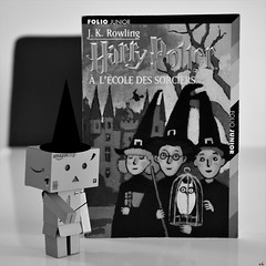 Danbo Potter (karine_cattier) Tags: 7daysofshooting books bwwednesday danbo monochrome