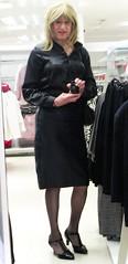 Full Length Mirror (Amber :-)) Tags: navy leather pencil skirt tgirl transvestite crossdressing
