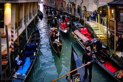 A Venetian Traffic Jam! (Raphael de Kadt) Tags: venice italy gondolas gondola trafficjam canal evening winter busy fujifilmxt2 fujinonxf18135mmwrios 18mm iso3200 colourful colorful waterway beautifulcity beautiful