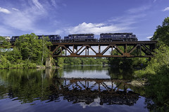 600s over the Kennebec (Thomas Coulombe) Tags: panamrailways panam mawa emdsd452 sd452 sd402m freighttrain train kennebecriver bridge fairfield maine