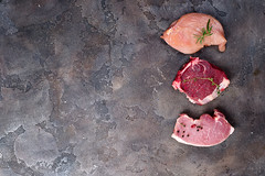 Top view of raw chicken, beef and pork chop set. Lean proteins. (lyule4ik) Tags: meat raw cuisine chicken cooking pork beef preparation background fillet chop cut food steak fresh board uncooked butcher meal isolated nutrition diet top view breast above muscle bbq path barbecue boneless kitchen up culinary barbeque condiment garnish grilled ingredients mock prepare red