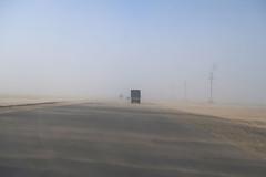Sand Storm on the Highway Entering Balkanabat