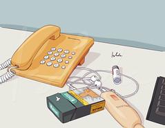 Telebabad (ish.da) Tags: digitalart vectorart illustration illustrator adobeillustrator telephone yellowtelephone winston cigarette earphones details