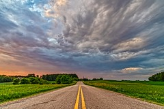 The Highway (Daniel000000) Tags: highway road roads highways clouds sky storm sunset sunsets lines yellow green new sunlight digital natural nature landscape nikon d750 photography transport transportation blue white tree trees country art sun light cloud summer old orange