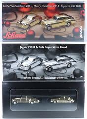SCH-P-1710.82-set (adrianz toyz) Tags: schuco piccolo set frohe weihnachten 2014 merrychristmas gold plated diecast toy model 171082 jaguar mkii mk2 rollsroyce silver cloud