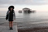 Cheryl (Gary Kinsman) Tags: fujix100t fujifilmx100t brighton eastsussex 2018 people person pier westpier ruin sea beach englishchannel pose posed portrait portraiture seaside sunset dusk evening