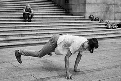 Footloose (johnjackson808) Tags: vancouverartgallery mask vag people bw stairs man plaza monochrome dance fujifilmxt1 vancouver nativemasks busker steps blackandwhite streetphotography downtown