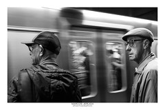 "[ ""Woody Allen"" and friend ] (Marcos Jerlich) Tags: people friends portrait subway light contrast train flickr 7dwf bnw noiretblanc bw monochrome blancoynegro mono panning blur saopaulo brasil américadosul marcosjerlich"