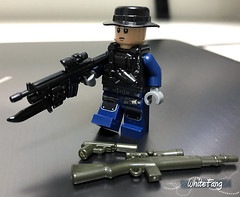 Alpha Leader - Ken donned in his jungle warfare outfit (WhiteFang (Eurobricks)) Tags: lego military contractor soldier mercs weapons rifles snipers jungle acu jurassic world fallen kingdom brickarms customised