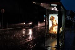 Hot Rain (rvjak) Tags: d750 nikon rain pluie hot warm chaud sexy woman femme affiche board voiture car orage storm night nuit france paris