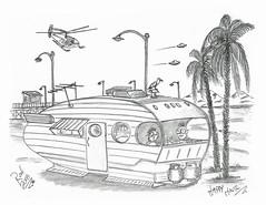 Happy Hour (rod1691) Tags: myart art sketchbook bw scfi grey concept custom car retro space hotrod drawing pencil h2 hb original story fantasy funny tale automotive illustration greyscale moonpies sketch sexy voodoo
