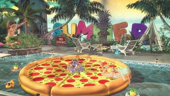 Pizza, Pool, PLUNGE! (CalebBryant) Tags: secondlife sl madpea summer hunt pool pizza float floatie beach fun swimming