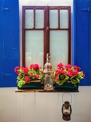 Decor (Мaistora) Tags: limnos egeo greece gr window wood lamp lantern oillamp flowers blue white red green old antique vintage aged recucled design designer interior decor decoration symbolic greek mediterranean style culture phone mobile sony xperia lightroom