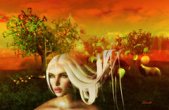 Mother Earth (Milla DelRay) Tags: flowers fruit tree trees portrait portraits face faces grass sheep apple apples mystictimbers country field fields sky skies cloud clouds landscape landscapes earth mother motherearth nature outdoor sl secondlife art