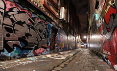 """ .. try the side door"" (Shadyezz) Tags: night lane cobblestone alley door streetart graffiti paint light melbourne street"