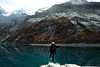 Stepping on a mirror (Wijnand Boerma) Tags: mountain mountains lake cold winter adventure travel hiking girl blond switzerland nikon d5300 mirror water snow trees rocks step