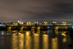 Rochester by Night (d0mokun) Tags: river medway chatham kent night time nighttime long exposure reflections railway bridge trains light trails
