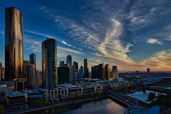 Sundown @ Skyline @ Southbank, Melbourne, VIC, Australiaxopsp ([ PsycBob ]) Tags: cbd southbank melbourne australia australien blue blau skyline skycraper hochhaus fire murry river fluss sundown sonnenuntergang mirror spiegelungen sky himmel
