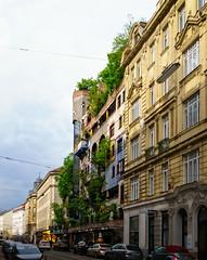 Hundertwasserhaus, Vienna (Tigra K) Tags: wien austria at 2017 architecture balcony city contemporary expressionism funny garden plant road tree vienna
