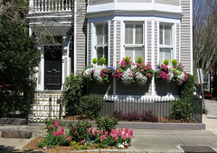 A springtime bay window on Broad Street, Charleston, SC (Spencer Means) Tags: architecture house window bay box door doorway steps stoop gate wrought iron ironwork sidewalk broad street charleston sc southcarolina spring springtime dwwg