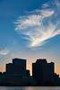 Wispy New Orleans Sunset (matthewkaz) Tags: sky clouds downtown city urban river mississippiriver sunset buildings reflection water neworleans louisiana 2018 westin sheraton hotel hotels