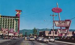 Stateline Lake Tahoe Postcard - Harrah's, Harvey's, etc. (hmdavid) Tags: vintage postcard stateline laketahoe southlaketahoe motels casinos california nevada gambling harrahs barneys signs roadside architecture midcentury 1960s harrahsclub