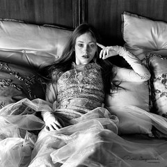 Lady of the castle (piotr_szymanek) Tags: kasia kasiat woman studio blackandwhite portrait young skinny longhair face eyesoncamera dress bed boudoir 20f 1k 5k 50f 10k 100f fromabove 20k freckles 30k