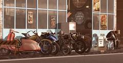 Edgar's cafe (drayton.miles) Tags: mesh second sl secondlife motorbike motorcycle bike biker ride rider tattoo tattoos leather cafe bar set scooter cruiser chopper bobber moped vespa roleplay rp edgar edward kelsey photo