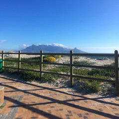 Yup, another picture of Table Mountain (rjmiller1807) Tags: tablemountain capetown southafrica westerncape blouberg bloubergstrand blaauwberg sea ocean beach waves fence shadow blue bluesky 2017 iphone iphonography iphonese