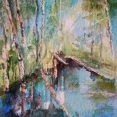Still water (sushipulla) Tags: lands forest water watercolours watercolors paint painting sketching sketch nature natura