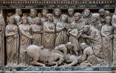 St Dominic Raising the Dead Child (Lawrence OP) Tags: pisano tomb stdominic arca sandomenico bologna marble carved miracle resurrection raising dead arnolfodicambio