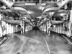 Vehicle Bay, Ferry, Georgian Bay, Ontario (duaneschermerhorn) Tags: black white blackandwhite blackwhite bw noire noir blanc blanco schwartz weiss boat ship ferry empty cavernous