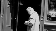 ciggie break (byronv2) Tags: man seniorcitizen old elder smoke smoking cigarette fag pub door tollcross peoplewatching candid street blackandwhite blackwhite bw monochrome homestreet edinburgh edimbourg